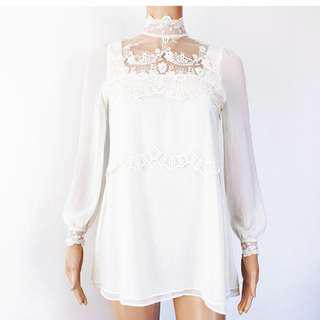 White high neck lace dress