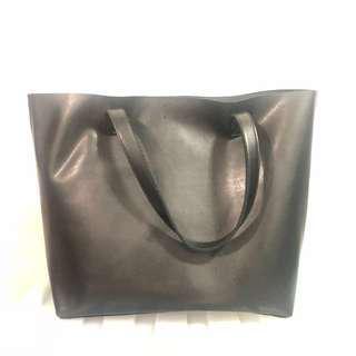 Posh Everyday Black Vegan Tote Bag