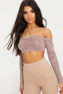 Pink Ruched Front Knit Top (crop top)