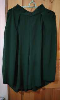 🚚 墨綠 雪紡 鬆緊 口袋 寬褲