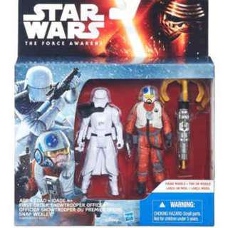 "The Force Awakens 3.75"": 2 Pack Snap Wexley and First Order Snowtrooper Officer + Space Mission Guavian Enforcer"