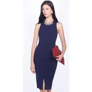 🚚 Fayth Milton Midi Dress Navy Size M
