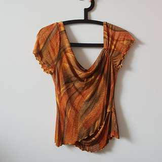 D'Glamor Orange Patterned Top