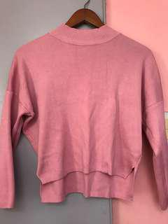 Korean Cropped Pink Sweater