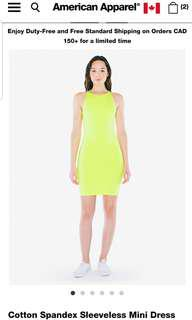 American apparel sleeveless mini dress