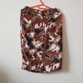 Brown/White Patterned Skirt