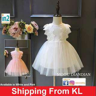 (Free Delivery) Baby Clothing Girls Dress Flower Girl Ribbon Princess White Wedding Dress Pink