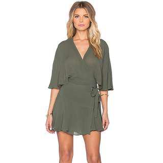 PFEIFFER THE LABEL khaki green Wind and Lion wrap cape dress M (AU 10)