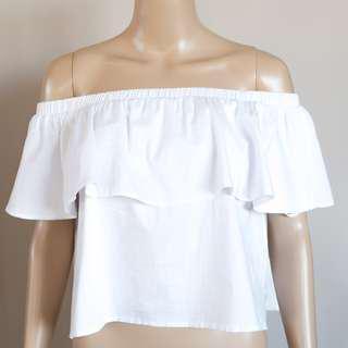 MUSEUM white cotton blend off-shoulder ruffle top size 0 (AU 6-8)