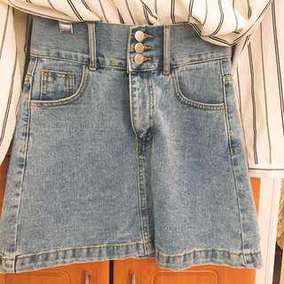 🚚 【正韓貨】高腰排扣超顯瘦牛仔裙
