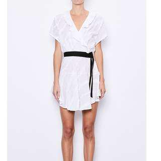 MLM LABEL 'Raphael' white cotton wrap over frill belted dress S (8-10)