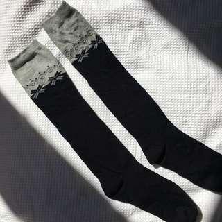 Black and grey knee high socks