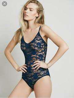 Free people navy lace bodysuit