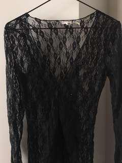 Free People black lace sheer top