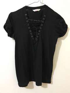 Supre black lace up top