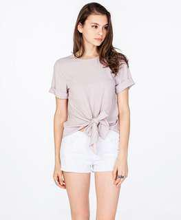 BNWT TCL The Closet Lover Seline Tie Front Top in Ash Lilac