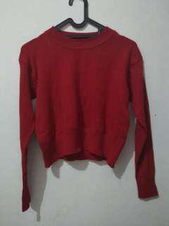 Sweater rajut crop top maroon