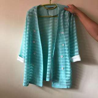 薄荷綠 針織 外套 西裝外套 mint green knit jacket coat blazer