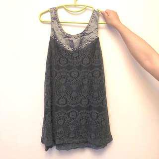 黑色 灰色 蕾絲 背心裙 連身裙 black grey lace dress
