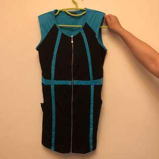 黑色 藍色 拉鍊 斯文裙 返工裙 連身裙 Black blue work dress OL dress zip dress