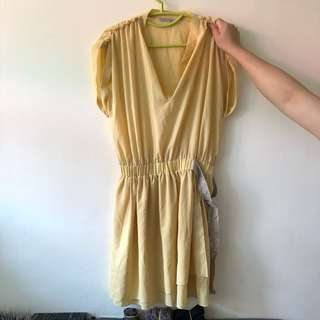 Pinko 黃色 連身裙 yellow dress one piece work dress OL dress
