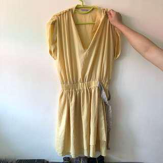 Pinko 黃色 連身裙 yellow dress one piece work dress OL dress