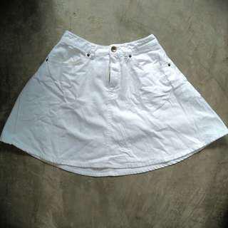White Denim Circle Skirt