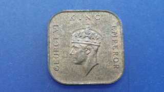 送平郵,馬來西亞1939年被英國統治時出喬治六世銅幣壹仙