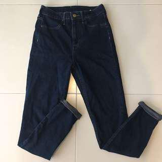 h&m highwaisted dark denim skinny jeans