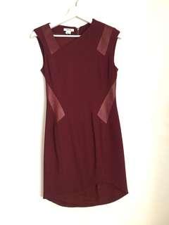 Helmut Lang Maroon Asymmetric Dress
