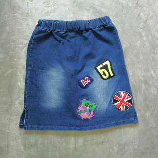 Pencil Denim Mini Skirt with patches