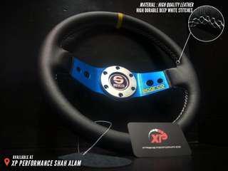 Steering Sport SPARCO SAFARI Blue Leather Grip 2 Spoke 12.5 inch steering