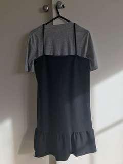 KOOKAI BLACK PEPLUM FRILL DRESS