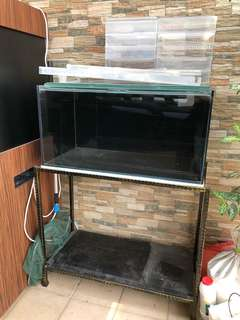 Crystal glass Fish Tank with stand - 3x1.5x1.5ft (90x45x45cm)
