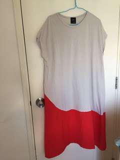 韓國棉質杏色配紅色連身裙/ 孕婦裙 包順豐