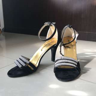 Black Strap Heels with Diamond Accs