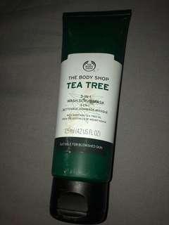 The body shop Tea Tree 3 in 1 Wash scrub Mask.