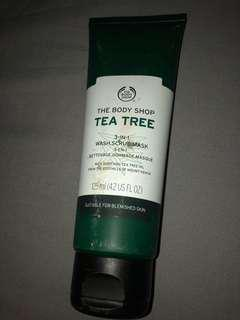 The body shop Tea Tree 3 in 1 Wash scrub Mask.