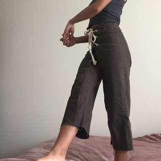 Topshop Khaki Wide Pants