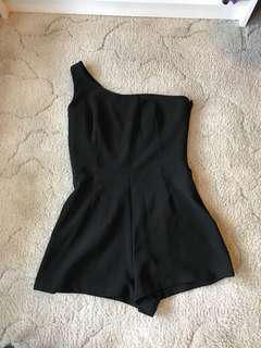 One Shoulder Black Playsuit