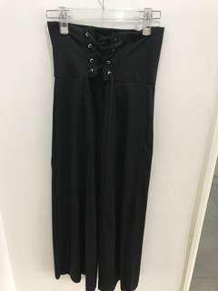 Black Corset Wide Pants