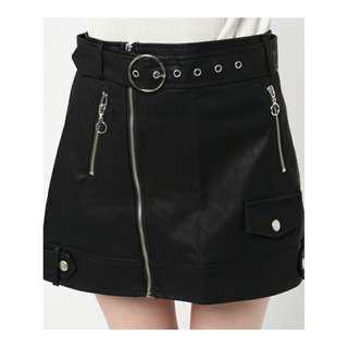 Faux Leather Buckle Miniskirt