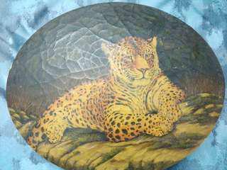 收藏品讓 裂紋處理效果油畫木盒 威嚴的虎豹  28cm (L)X 24cm(W) X8cm(H) 盒蓋及盒身全為油畫一體 僅此1件