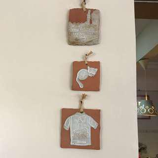 Set of 3 wall hanging - hand crafted in Rovinj, Croatia
