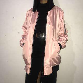 Fashionnova baby pink bomber jacket