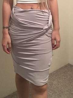 Slinky knot skirt beige coloured midi
