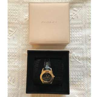 PANDORA Black and Gold Imagine Leather Watch, additional leather bands and gold plated.