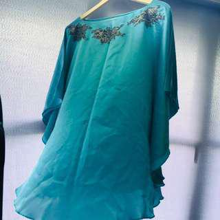 Lace Kaftan in Turquoise