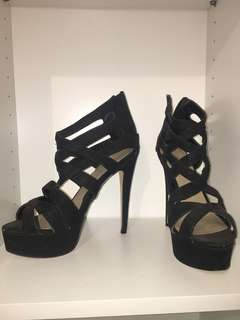 Lipstik Black strappy super high heel stiletto