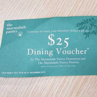 🚚 The Marmalade Pantry $25 dining voucher